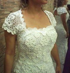 Vestido de Noiva em Crochê Irlandês