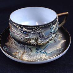 Pensive Geisha Lithopane Very Delicate Tea Cup and Saucer Moriage Slip Clay Dragon