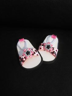 """American Handmade 18"""" Doll Clothes- Funky Flowered Sandals - Doll Shoes Handmade to fit American Girl Doll and Similar 18 inch Girl Dolls by HauteDesignsByNorine on Etsy https://www.etsy.com/listing/484708009/american-handmade-18-doll-clothes-funky"""