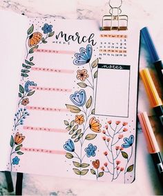 Bullet Journal Inspiration for March March Bullet Journal, Bullet Journal Banner, Bullet Journal Notebook, Bullet Journal Ideas Pages, Bullet Journal Spread, Bullet Journal Layout, Bullet Journal Inspiration, Bullet Journal Lettering, Bullet Journal Aesthetic