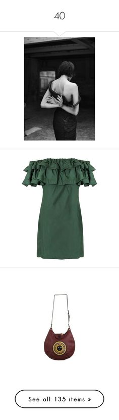 """40"" by pocahaunted666 ❤ liked on Polyvore featuring dresses, tie dress, off-shoulder dresses, green ruffle dress, green dress, ruffle dress, bags, handbags, shoulder bags and accessories"