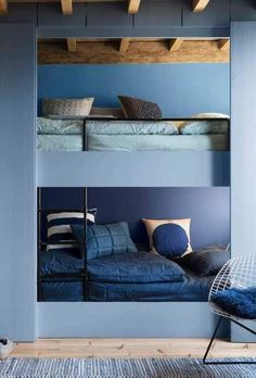 Dulux Colour Futures 17 - Colour of the Year - Denim Drift - Kids Bedroom - Denim Drift, Sash Blue, Cornflower Bunch, Marine Waters Dulux, Blue Kids Room, Home Interior Design, Small Apartments, Bedroom Design, Denim Drift, Interior Design, Small Bedroom, Blue Rooms