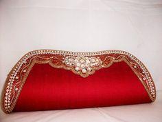 1095 Designer clutch purse ethnic wedding gift bollywood indian style small medium red