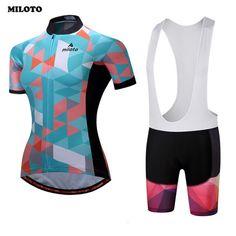 57a62a7c2d04 MILOTO Women Cycling Jersey Bike Short Sleeve Comfortable Gel Padded (Bib) Shorts  Set Ropa