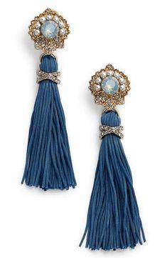 Marchesa Crystal & Tassel Drop Earrings in shades of blue