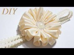 Como Hacer Lazos  DIY #87 Flor en Cinta Gros Tutorial - YouTube