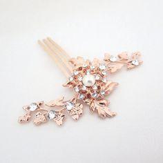 Peigne de mariée or rose, peigne de cheveux petit mariage, bijoux de mariage ,