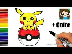 How to Draw Pikachu in Pokeball Easter Egg - YouTube