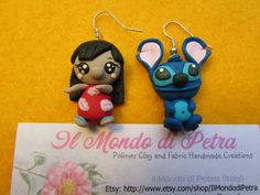 Lilo and Stitck Walt Disney Kawaii Earrings Polymer Clay