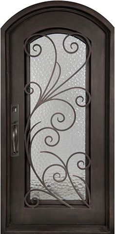 Iron Doors Unlimited Flusso Center Arch Heavy Bronze Decorative Wrought Iron Entry Door At The Home Depot Mobile