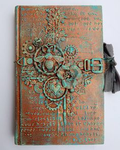"Steampunk diy 36662184452109244 - ""altered book cover with my beloved finnabair products…"" Source by Mixed Media Journal, Mixed Media Canvas, Mixed Media Collage, Texture Metal, Altered Book Art, Altered Canvas, Art Journal Pages, Art Journals, Art Journal Covers"