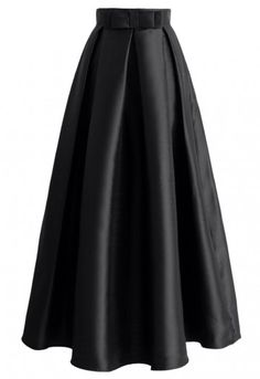 Bowknot Pleated Full Maxi Skirt in Black - Skirt - Bottoms - Retro, Indie and Unique Fashion Long Pleated Maxi Skirt, Long A Line Skirt, A Line Skirts, Long Skirts, Midi Skirt, Black High Waisted Skirt, Black Maxi Skirts, Long Black Skirt Outfit, Printed Maxi Skirts