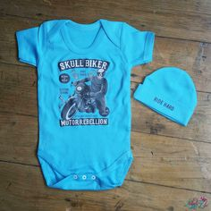 Skull Rider Baby Grow And Beanie Set from Lulah Blu. Add your own art work and text to a baby grow, we have all sizes from Newborn to 2 years. Baby Gift Sets, 1st Birthdays, Baby Grows, Newborn Gifts, Skull, Beanie, Clothes, Baby Jumpsuit, Outfits