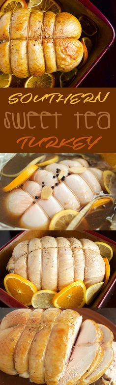"""Southern Sweet Tea Turkey Brine """"Though I've lived in California for almost a decade now, there are still occasions when you can see my Southern roots. It mostly shines through in my cooking, but also sometimes in my accent after I've had a few drinks.  When I don't go home for the Holidays, I like to incorporate a few …"""""""