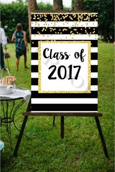 24x36 INSTANT DIGITAL FILES Class of 2017 kate spade black white stripe gold glitter sign grad graduation girl photo prop senior party decor