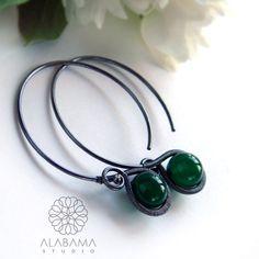 Minimal GREEN - srebrne kolczyki-koła z zielonym onyksem / Alabama / Biżuteria / Kolczyki