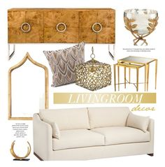 Modern Living Room In Gold by kathykuohome on Polyvore featuring interior, interiors, interior design, home, home decor, interior decorating, living room, modern, Home and homedecor