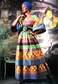 Jours de France Collections de Printemps 1971  A brightly colored cotton long summer dressby Lanvin.
