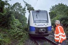 Bei Hildesheim ist während des Sturms ein Ast auf die Oberleitung einer Bahnstrecke gefallen und hat am Triebkopf dieses Erixx-Zuges einen Kurzschluss und einen Brand verursacht. Die Region Göttingen blieb jedoch weitgehend von Schäden verschont.