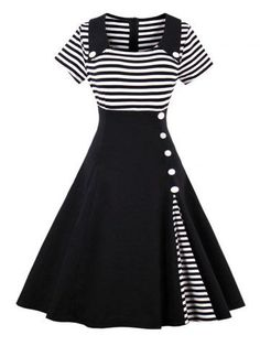 GET $50 NOW | Join RoseGal: Get YOUR $50 NOW!http://m.rosegal.com/vintage-dresses/vintage-buttoned-stripe-pin-up-1199641.html?seid=9726654rg1199641