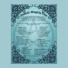 IMBOLC MAGICK OILS Book of Shadows page, Grimoire, Spell, Pagan, Scrapbook, Wiccan, Pagan Ritual, Digital Download, by MorganaMagickSpell on Etsy
