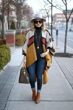 stripey stroll (Mango hat + ChicWish funky striped mustard blanket cape + black turtleneck + Julie Vos coin pendant + JBrand jeans + Aldo tan le… - All About Winter Mode Outfits, Winter Fashion Outfits, Autumn Winter Fashion, Fall Outfits, Casual Outfits, Winter Stil, Casual Winter, Pancho Outfit, Estilo Hippie