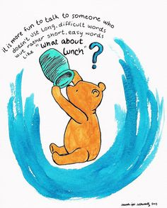 What About Lunch? Winnie the Pooh watercolor doodle