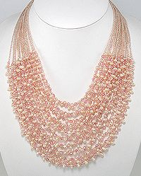 Beautiful Necklace Beaded With Fresh Water Pearl, Crystal Glass and Seed Bead