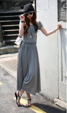 Simple All-Match Scoop Collar Drawstring Waist Ruched Short Sleeves Pleated Dress Cheap Maxi Dresses, Cheap Dresses Online, Women's Dresses, Modest Fashion, Fashion Dresses, Work Fashion, Kids Fashion, Latest Dress For Women, Mode Simple