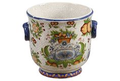 """6"""" Tuscan Cachepot on OneKingsLane.com ($25 v. $48 retail) Ceramic 6""""H Color: cream/blue/multi  """"This ceramic cachepot features a lively color palette and design that's so pretty you could even leave it unfilled."""" by Winward"""