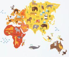 World map removable nursery wall art decor mural decal sticker 61005 world map removable nursery wall art decor mural decal sticker 61005 nursery big and walls gumiabroncs Choice Image