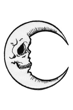 """Black & White Embroidered Luna Moon Patch - Embroidered Patch. - Iron-On Back. - 4.5"""" - By Killstar"""