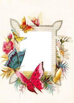 Free Vintage Clip Art - A Circlet of Butterflies