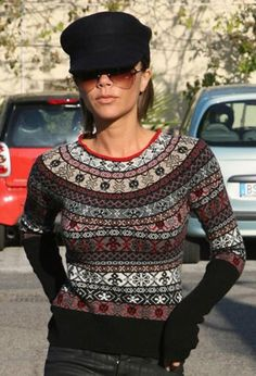 favorite fall trend CABIN-INSPIRED SWEATERS. VB looking good in a fair isle and fisherman's cap!