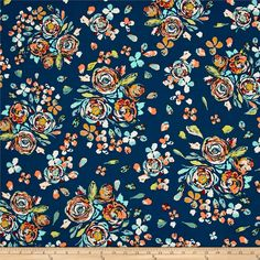 Designed by Maureen Cracknell for Art Gallery Fabrics, this cotton print is perfect for quilting, apparel and home decor accents. Art Gallery Fabric features 200 thread count of finely woven cotton. This floral collection is a mix between bohemian and romanticism with vibrant colors that are sure to be a show stopper.  Colors include navy blue, white, rusty red, hunter green, aqua blue, gold, coral, natural, white, green and tan.