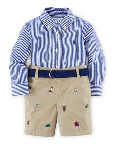 Striped Poplin Shirt w/ Embroidered Shorts, Blue/Multicolor, Size 9-24 Months, Blue Multi - Ralph Lauren Childrenswear