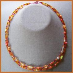 Citrus Cane And Crackle Double Necklace By Athomicartanddesign On Zibbet $12