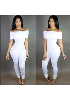 New Women White Plain Boat Neck Clubwear Bodycon Catsuit One Piece Bodysuit