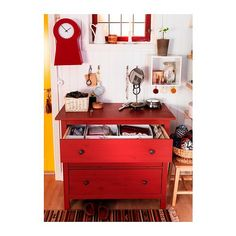 HEMNES Ladekast 3 lades - rood - IKEA