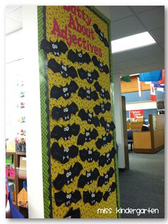 Miss Kindergarten: October is So Fun! Facts on bat wings too? Bird Bulletin Boards, Kindergarten Door, Halloween Door Decorations, School Projects, School Ideas, School Holidays, Teaching Kids, Classroom Door, Classroom Ideas