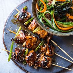 Yakitori Salmon Skewers with Red Rice Salad | sheerluxe.com