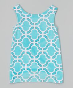 Another great find on #zulily! Aqua Quatrefoil Minky Dress - Infant, Toddler & Girls by Lolly Gags #zulilyfinds