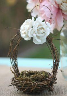 Flower Girl Basket Vintage Wedding Decor via Etsy.