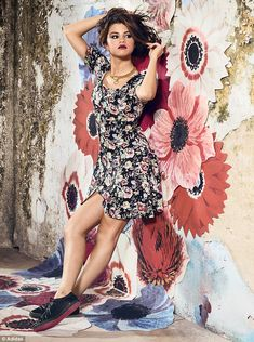 Floral street-wear: Selena Gomez has revealed her new Adidas collection in a rock chock photoshoot, on Wednesday