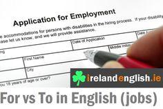 English grammar lesson https://www.youtube.com/watch?v=VZZdfqDTZoc #jobs #englishgrammar #for #to #onlineenglish