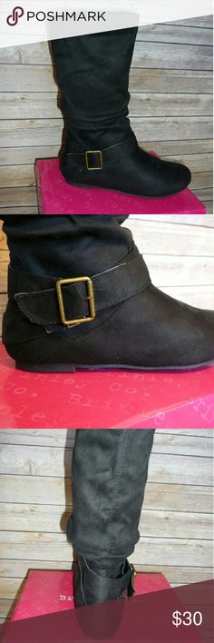 BRAND NEW IN BOX Faux Suede Slouchy Boots Black. Decorative buckle. Pull on style. Brand new in plastic and with box! Thoughtful and considerate offers are always welcome! Shoes Combat & Moto Boots