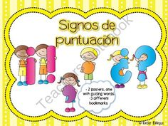 Signos de puntuacion basicos (punctuation marks in Spanish) from Kinder Bilingue by Juliana Suarez on TeachersNotebook.com -  (16 pages)  - Basic punctuation posters and bookmarks.
