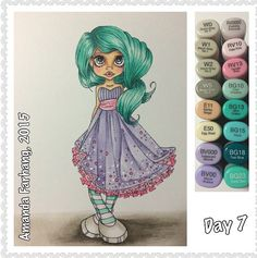 """Colored by Amanda Farhang. this is a digital stamp from Saturated Canary, and it's called """"Nevaeh"""". I printed it on Neenah Exact Index 110lb cardstock and colored with Copic sketch markers."""