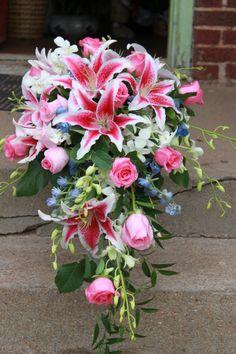 Cascading Wedding Bouquets, Bridal Bouquet Pink, Summer Wedding Bouquets, Flower Bouquet Wedding, Bridesmaid Bouquet, Flower Bouquets, Stargazer Lily Bouquet, Stargazer Lily Wedding, Boxing Day