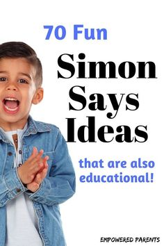 Simon Says is a fun game children love to play. Here are 70 Simon Says game ideas and commands for preschool children that are funny and also educational. Preschool Activities At Home, Educational Activities For Preschoolers, Fine Motor Activities For Kids, Homeschool Kindergarten, Toddler Activities, Games For Preschoolers, Time Activities, Literacy Activities, Physical Activities